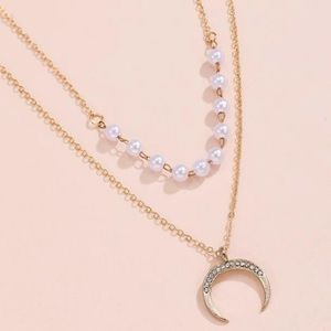Gold Pearl layer crescent pendant necklace